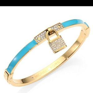 MK Gold/Turquoise Lock Bracelet Swarovski Crystals